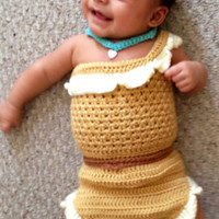 crochet photo prop Disney's Pocahontas inspired princess dress- size newborn or 0-3months