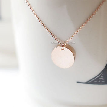 Rose Gold personalized disk Necklace / customized Rose Gold coin Necklace / Delicate DISC Necklace / Vermeil Rose Gold Tag