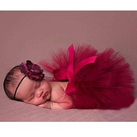 Newborn Props Red Baby Photo Props Tulle Tutu Skirt Photography for Baby Girl Newborn