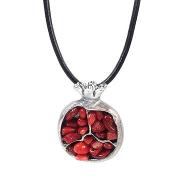 Ethnic Alloy Oriental Charm Of Pomegranate Stone Pendant Necklace Women Black Leather Ethnic Pendant Necklace Fashion Jewelry