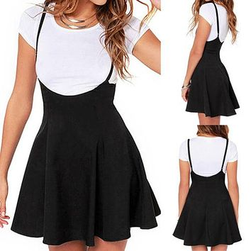 Trendy Women Waist Suspender Women Sleeveless Mini Skirt Black Skater High Waist Pleated Women Clothing