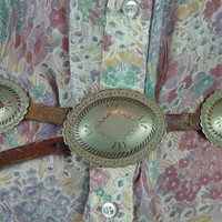"Vintage 60s Western Brown Leather Concho Belt Tin Nickel Silver Tone Boho Chic Cowgirl Southwestern W 29"" to 32"""