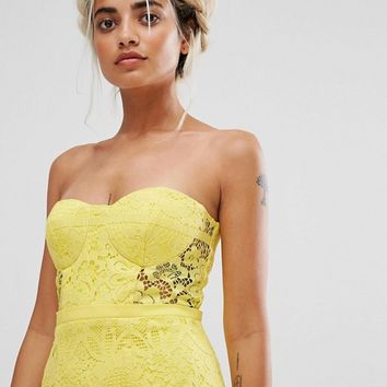 Jarlo Petite Allover Lace Bandeau Midi Dress With Highlow Fishtail at asos.com