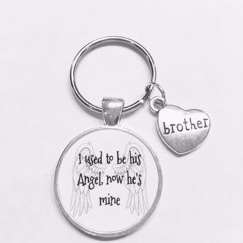Brother I Used To Be His Angel Now He's Mine In Heaven Guardian Angel Keychain