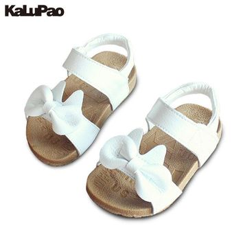 KALUPAO Childrens Sandals Girls Beach Leather Shoes Girls Bow Princess Sandals Soft So