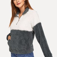 Drop Shoulder Color-Block Teddy Sweatshirt