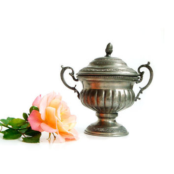 Vintage Italian Sugar Bowl , Pewter Sugar Bowl,Victorian style sugar bowl .