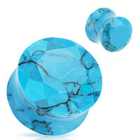 Synthetic Turquoise Faceted Stone Plugs (5mm-16mm)
