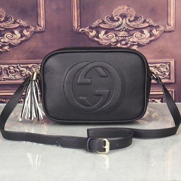 DCCKXT7 Gucci' Women Simple Fashion Classic Logo Embossed Tassel Zip Camera Bag Single Shoulder Messenger Bag