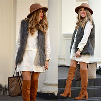 European Style Wave Fringe Faux Fur Vest Jacket For Women = 1841399620