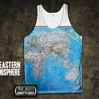 World Map Tank Top All Over Print - Geography Tank, unique work out tanks, running shirt, yoga shirt, beach wear, american apparel tank top