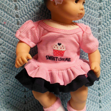 "AMERICAN GIRL Bitty Baby Clothes ""Sweet Like Me"" (15 inch) doll outfit dress, diaper cover, socks/baby booties, and headband"