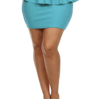 Peplum Solid Color Miniskirt.- Mint -  Plus Size - 1X - 2X