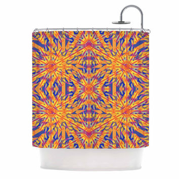 "Miranda Mol ""Azulejo Orange "" Orange Blue Shower Curtain"