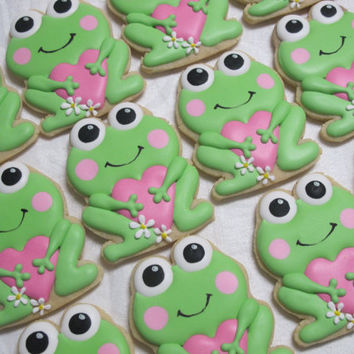 Lily Pad Love ... Sweetheart Frog with Heart Decorated Sugar Cookies - Frog Cookies, Shower, Valentine Day, Birthday Cookies Favors