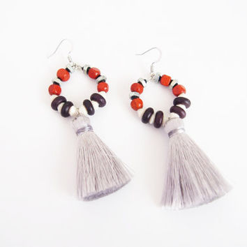 Wood earrings with light gray silk tassels , Nickel Free