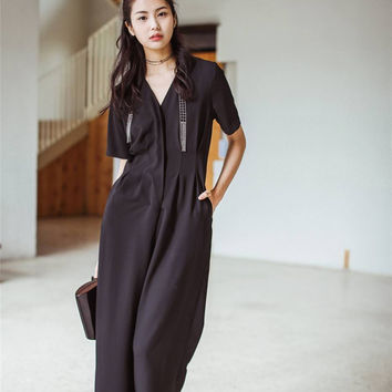 Short Sleeve Midi Jumpsuit