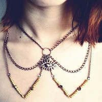 Brass All Seeing Eye Peter Pan Chain Collar Bib