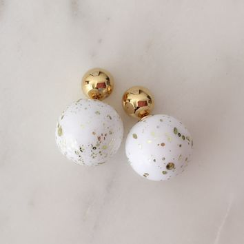 Gold Confetti Double Studs
