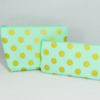 Gold and Mint polka dot SET cosmetic bag, clutch, makeup brush holder, pencil case, smartphone wallet
