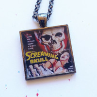"Retro Horror Movie Poster Necklace ""Screaming Skull"" 1 inch square with chain"