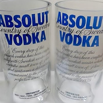 Absolut Classic Vodka Bottle Drinking Glasses Tumbler Set- NEW!