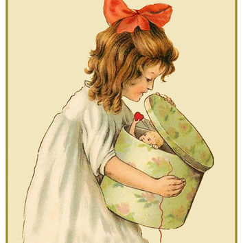 Vintage Little Girl Cupid in a Hat Box Hearts Love Counted Cross Stitch or Counted Needlepoint Pattern