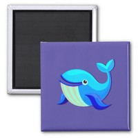Baby Sky Blue Dolphin Jump Square Magnet
