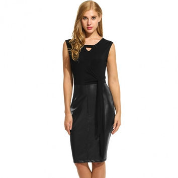 Women Sexy Faux Leather Accent Sleeveless Patchwork Tie-Front Dress