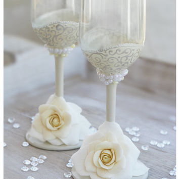 Ivory Wedding champagne hand painted glasses .