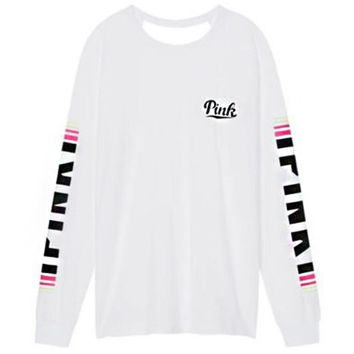 Victoria's Secret Fashion Trending Women's PINK Letter Print Long Sleeves Pullover Tops Sweater White I
