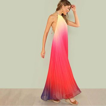 Gradient Halter Backless Chiffon Dress