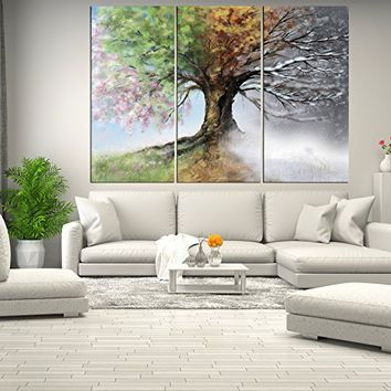 four season tree forest wall art canvas, tree canvas print, abstract wall art print large, abstract painting for home decor, framed canvas 3 pieces q131