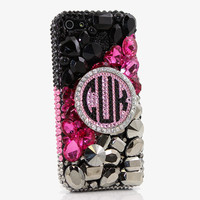 Black, Pink, and Metallic Personalized Monogram Design (style MO_2030)