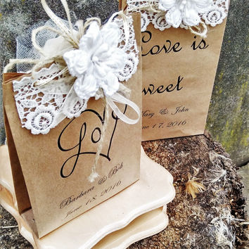Wedding Favors Love is Sweet Wedding Favor Bags lace and flower Bags Wedding Favor Bag Rustic Wedding Personalized Favor Bags rustic decor