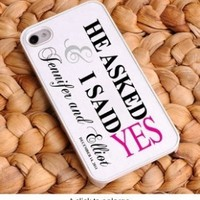 Iphone 4 & 4s Personalized Pink He Asked Iphone Case