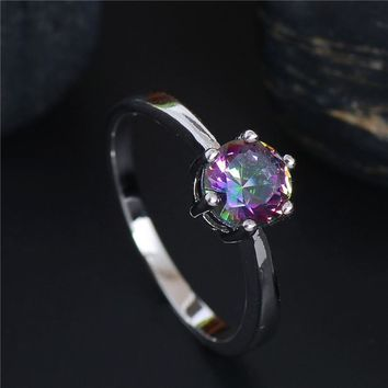 H:HYDE Nice Shipping Pretty silver Color Multicolor CZ Zirconia Charming Wedding Ring Size 5 6 7 8 9