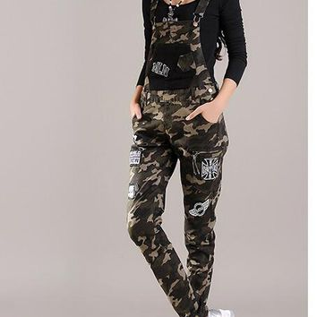 2016 Spring Student Young Womens Denim Jumpsuit Camouflage elastic harem pants plus size skinny jean overalls badge applique