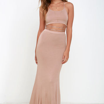 Fair to Slay Taupe Two-Piece Maxi Dress