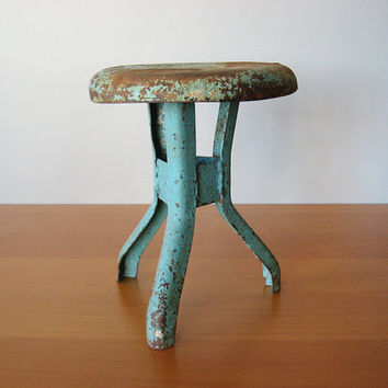 Vintage Industrial Teal Stool - Primitive