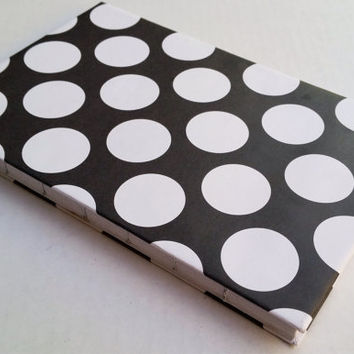 Polka dot black and white patterened journal with 80 blank pages 5.5X8.5
