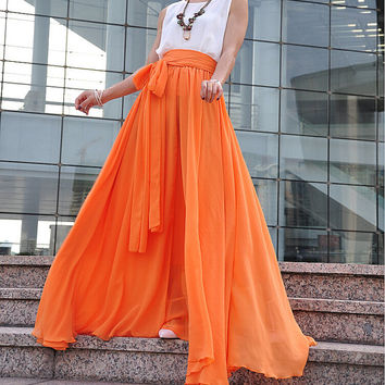 High Waist Maxi Skirt Chiffon Silk Skirts Beautiful Bow Tie Elastic Waist Summer Skirt Floor Length Long Skirt (037), #59