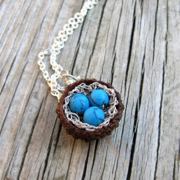 Quercus Acorn Robin Nest Silver Necklace by Tanja by tanjasova