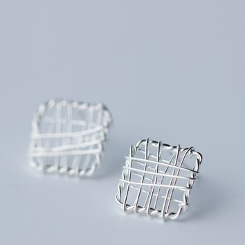 Knit lines square stud earrings,925 sterling silver earrings, a perfect gift