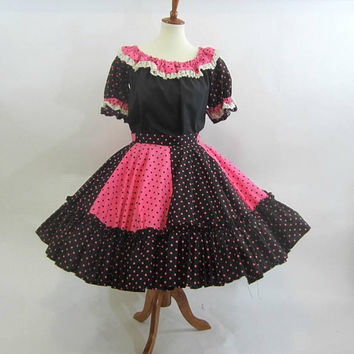 Black and Pink Polka Dot Ladies Square Dance Outfit 2 pc Handmade | 6 Gore Full Circle Skirt Velcro Waist | Wide Ruffled Hem Sz S-M