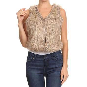 Women's Regular Faux Fur Waist Length Vest with Hook Closure - Small ~ Large