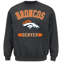 Denver Broncos Extra Point Crew Neck Fleece Sweatshirt - Charcoal