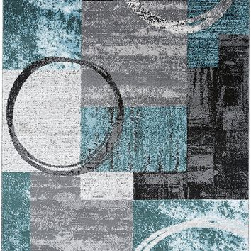 3809 Turquoise Geometric Contemporary Area Rugs