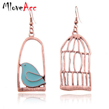Vintage  Color Fashion Design Oil Bird-Cage Lovely Drop Earrings For Women Brincos Peace Dove Bird Cage Dangle Earrings