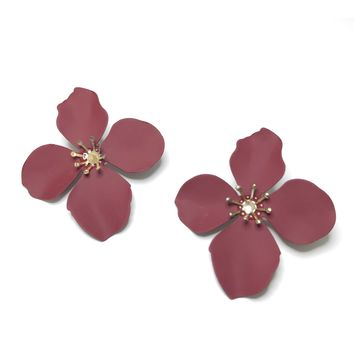 Four Petal Studs in Burgundy
